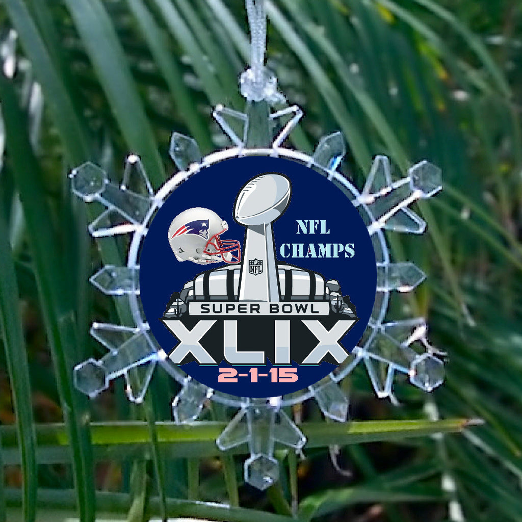New England Patriots Super Bowl 49 Blinking Light Holiday Holiday Christmas Tree Ornament