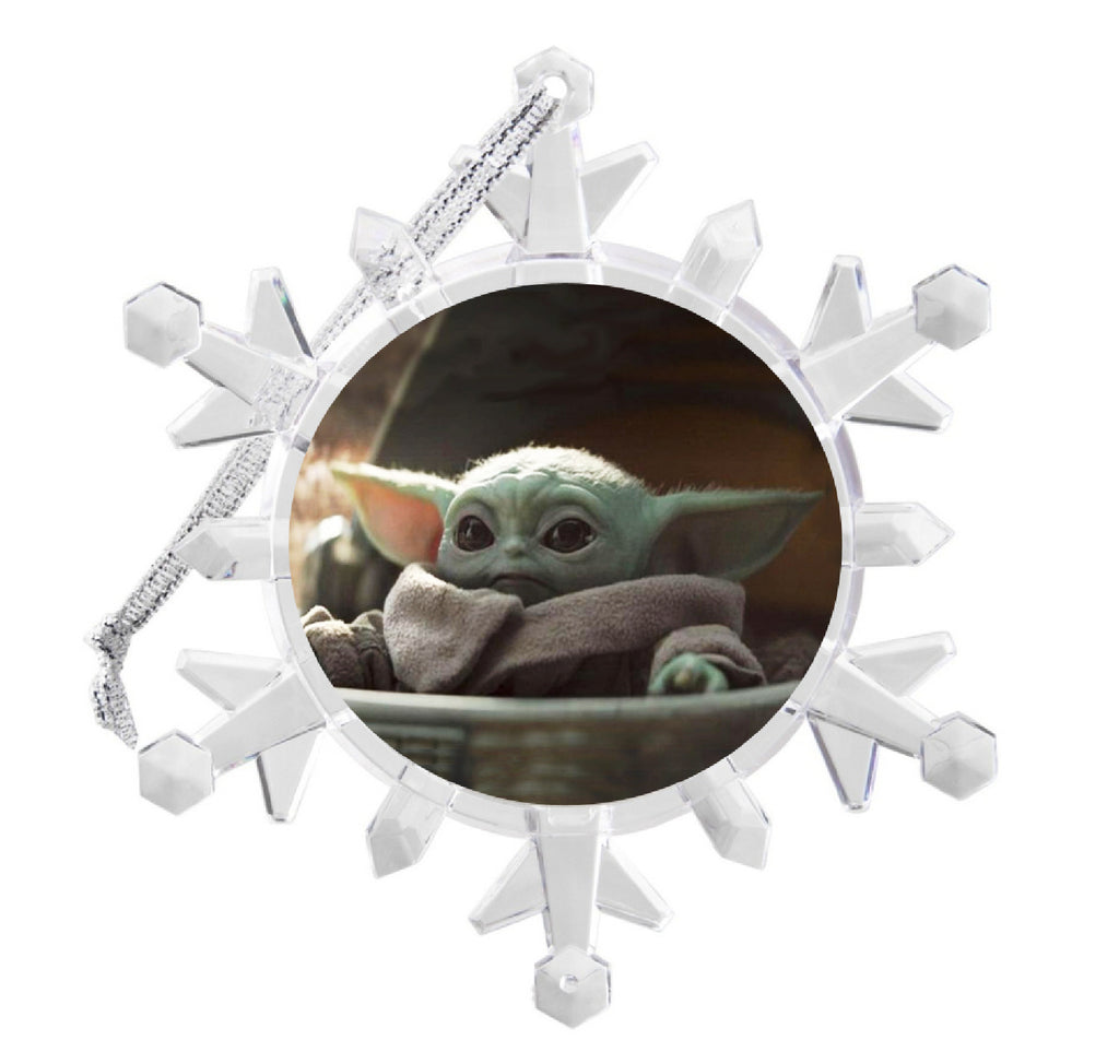The Mandalorian Star Wars Baby Yoda Snowflake Holiday Blinking Lit Christmas Tree Ornament