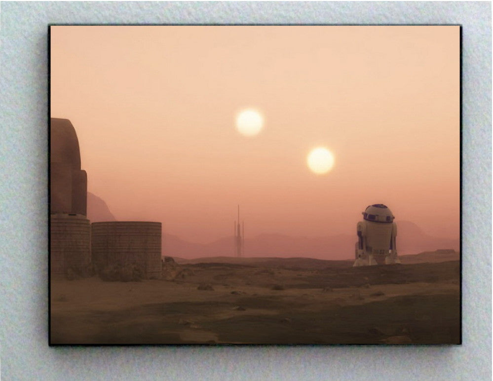 Star Wars R2D2 Sunset on Planet Tatooine Art Print