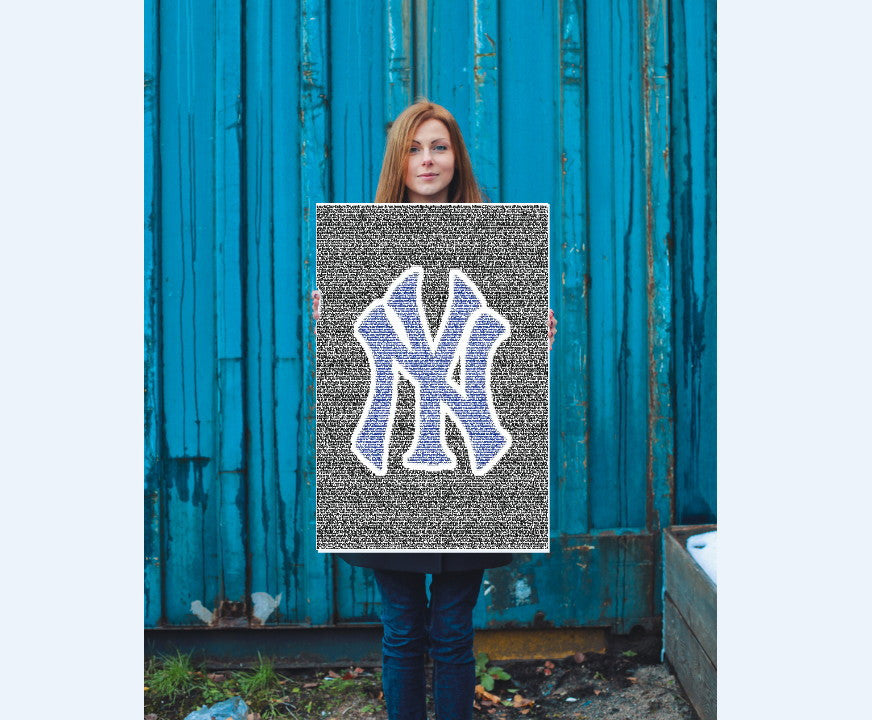 24 X 36 New York Yankees Lou Gehrig Speech Word Mosaic , Baseball-MLB - Artist Paul Van Scott, Final Score Products  - 1