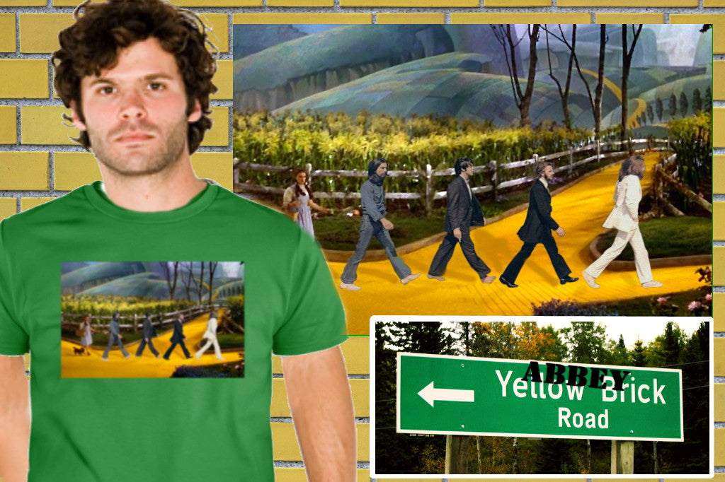 The Wizard Of Oz Follow The Yellow Brick Abbey Road Beatles Shirt. 5 colors!
