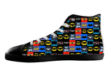 History Of Batman Logo High Top Shoes Mens Womens Kids , Shoes - Final Score Products, Final Score Products