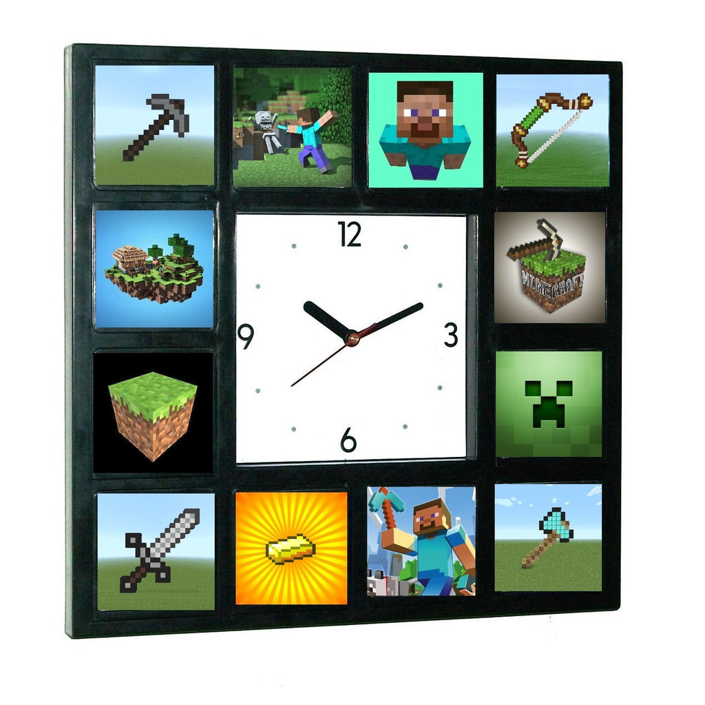 Minecraft Clock w/ 12 Pictures of Steve, Axe, Gold, Sword, Bow, Creeper available Glow In The Dark