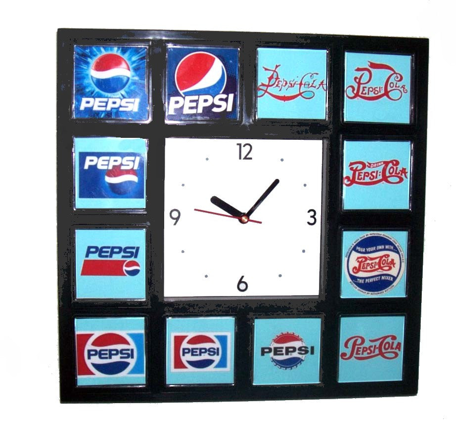 History of Pepsi Cola Soda Pop Logo Clock