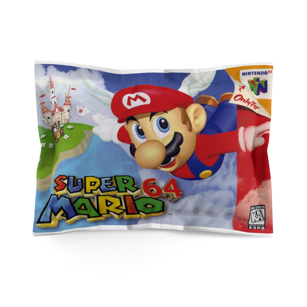 Nintendo N64 Mario 64 Cartridge Box Art Microfiber Pillow Sham