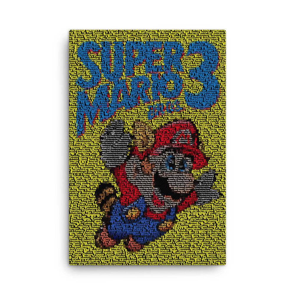 Framed Canvas 24X36 Super Mario NES Nintendo Original Game List Mosaic 24×36, art - Final Score Products, Final Score Products  - 2