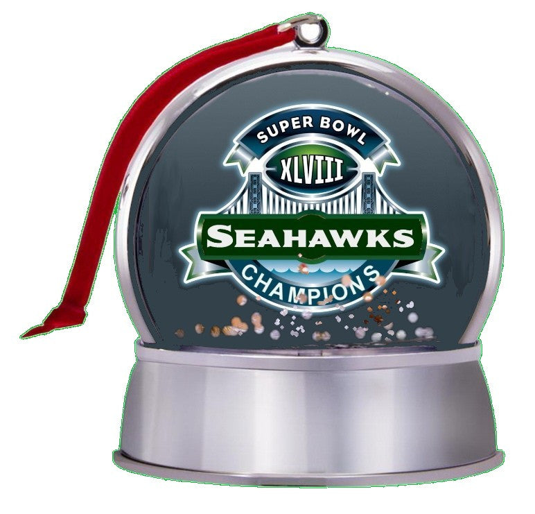 3-in-1 Seattle Seahawks Super Bowl 48 Champs NEW SnowGlobe Magnet Tree Ornament