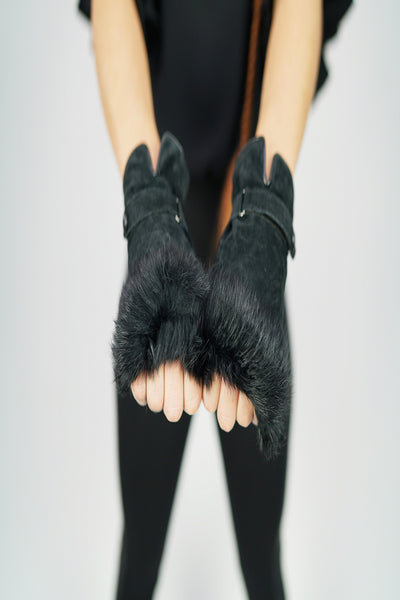 faux fur moto gloves