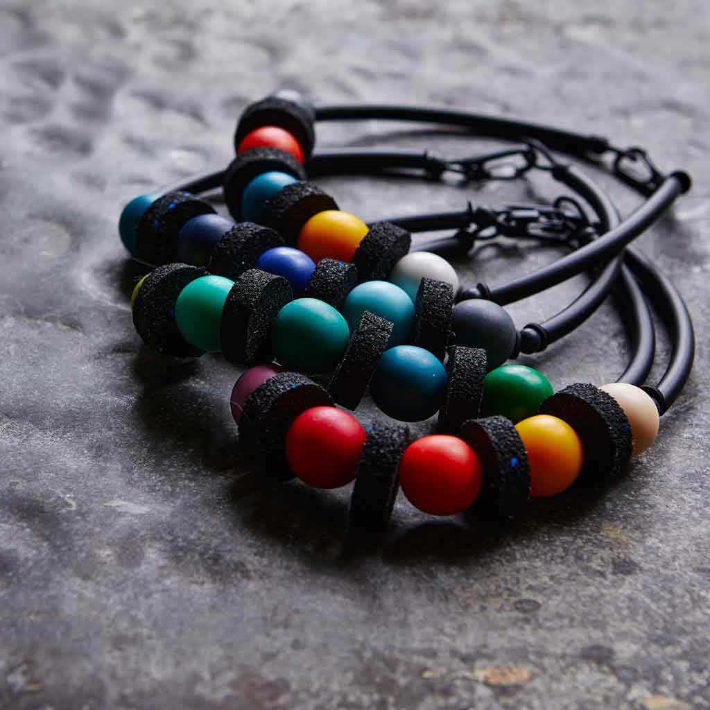 rubber and resin necklaces