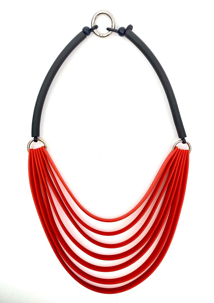red and black strip necklace