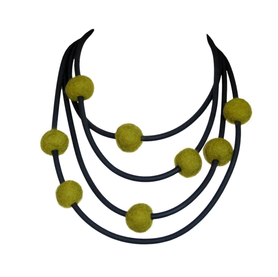 rubber and felt necklace