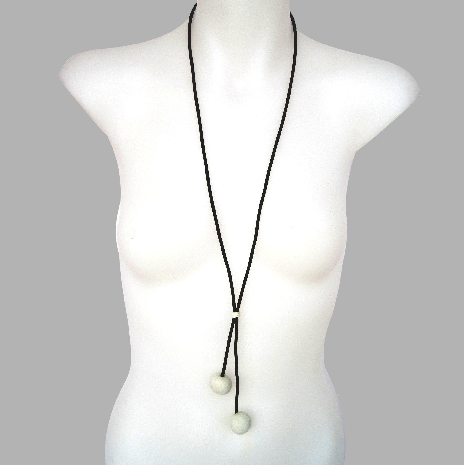 minimalist felt ball necklace