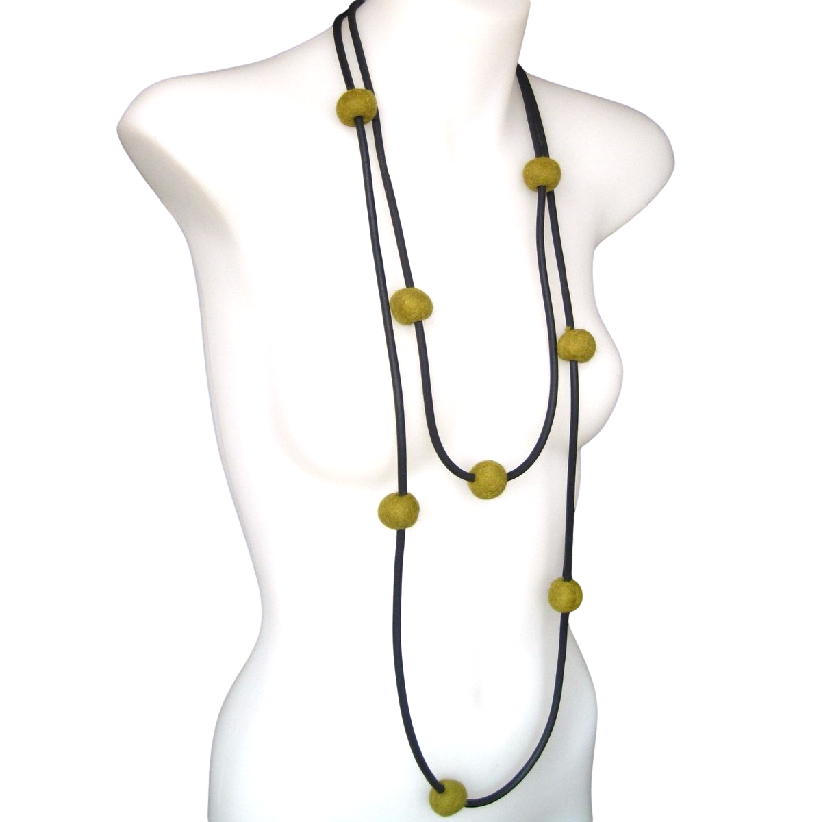 rubber and felt necklace, olive