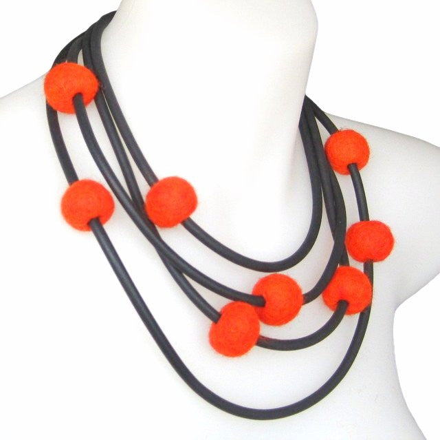 rubber and felt necklace, orange