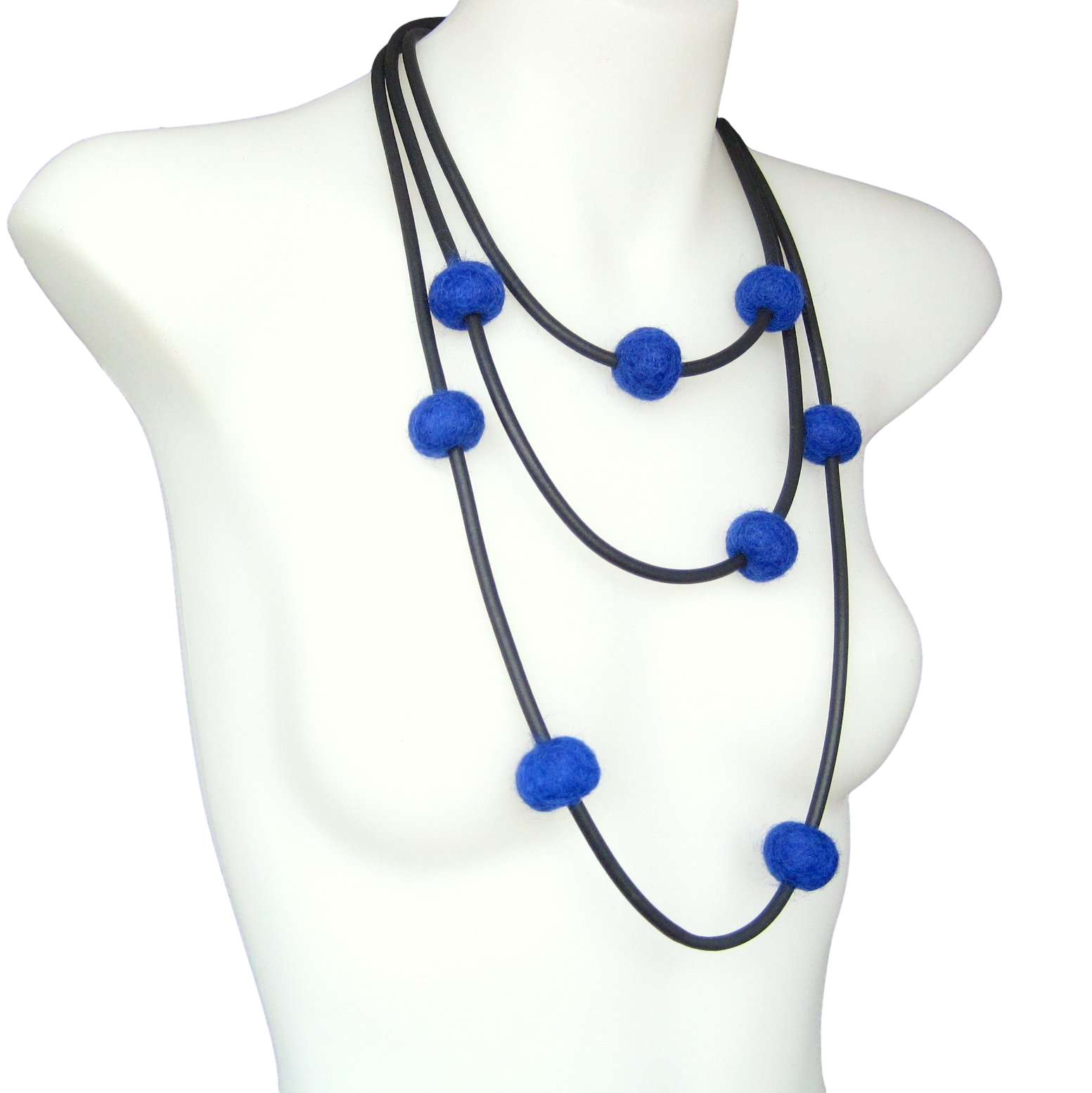 rubber and felt necklace, blue