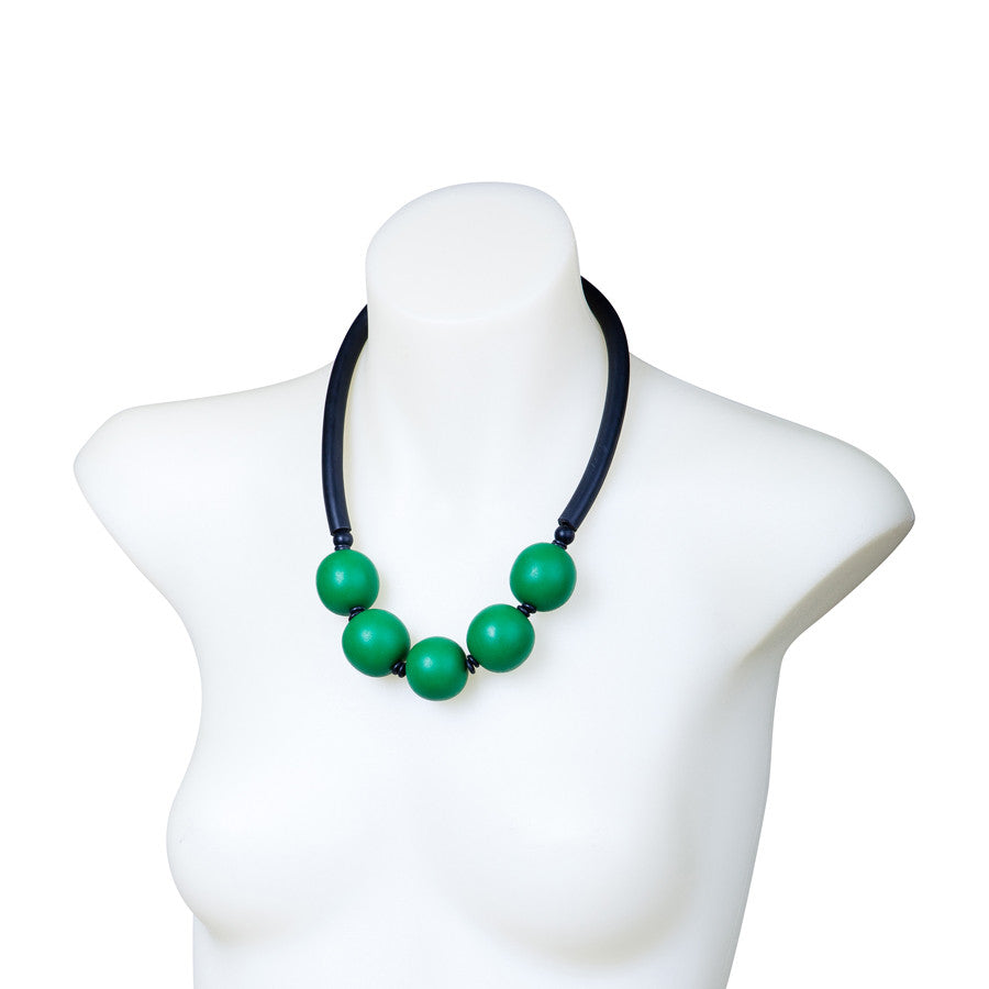 Green and black resin necklace