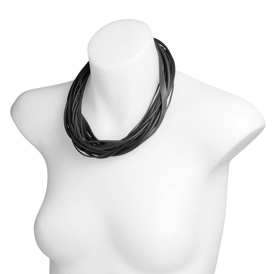 multi strand necklace black