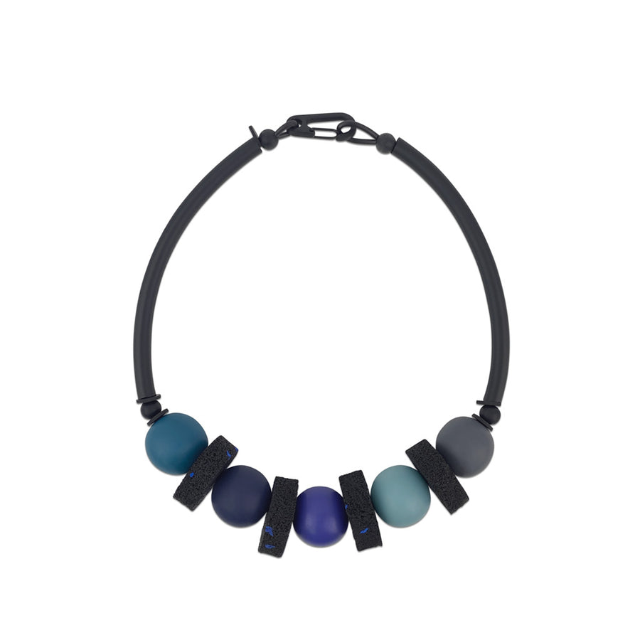 bold, blue resin and rubber, modern necklace by Frank Ideas