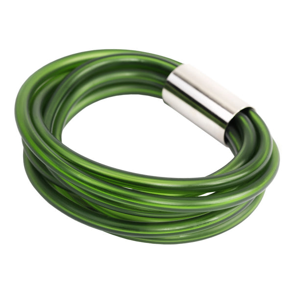 green rubber bracelet, edgy bangle designed by Frank Ideas