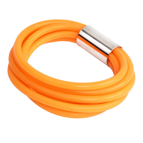 orange bangle, bold rubber jewelry