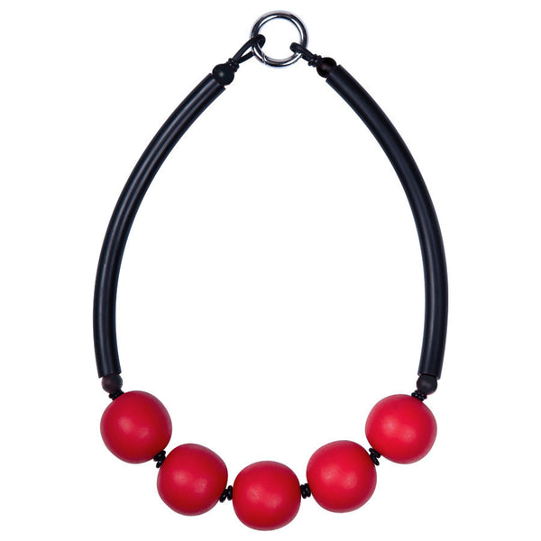 chunky resin necklace-red