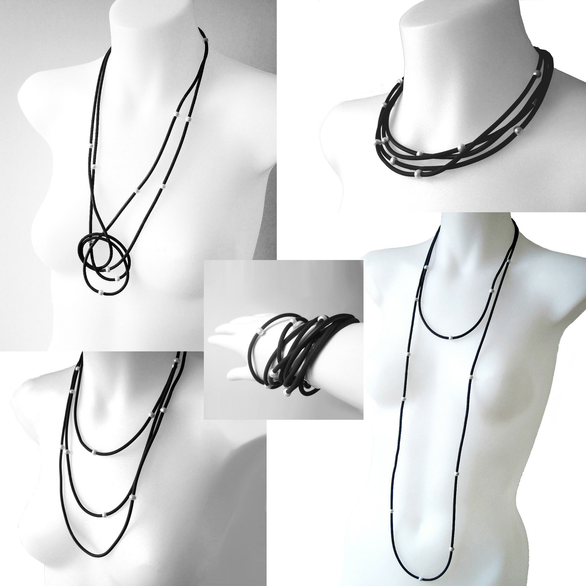 Long rubber necklace with pearls, grey