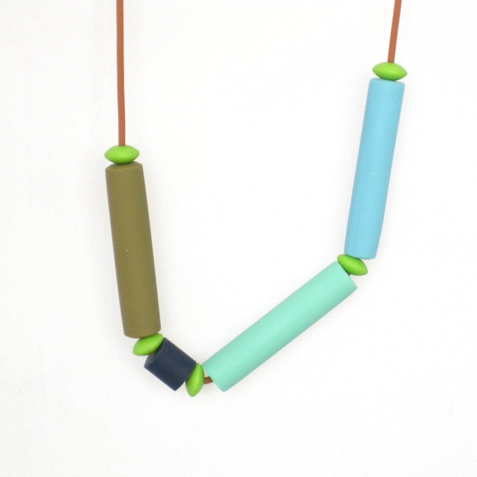 coloured tube necklace, modern jewelry