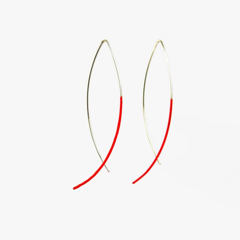 long sterling silver colour dipped earrings