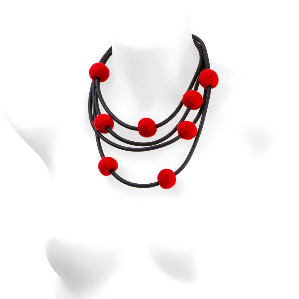 rubber and felt necklace, red