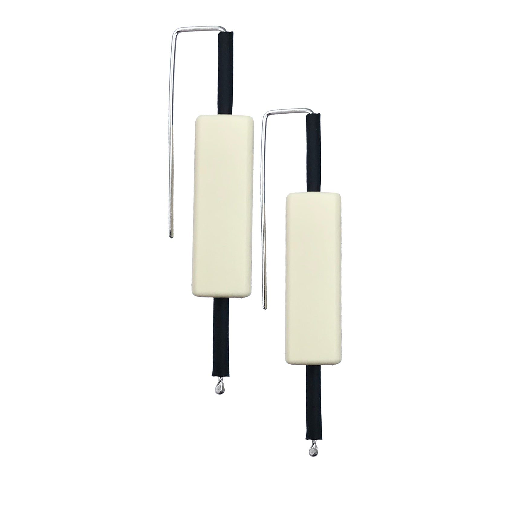 sterling silver and rubber architectural earrings
