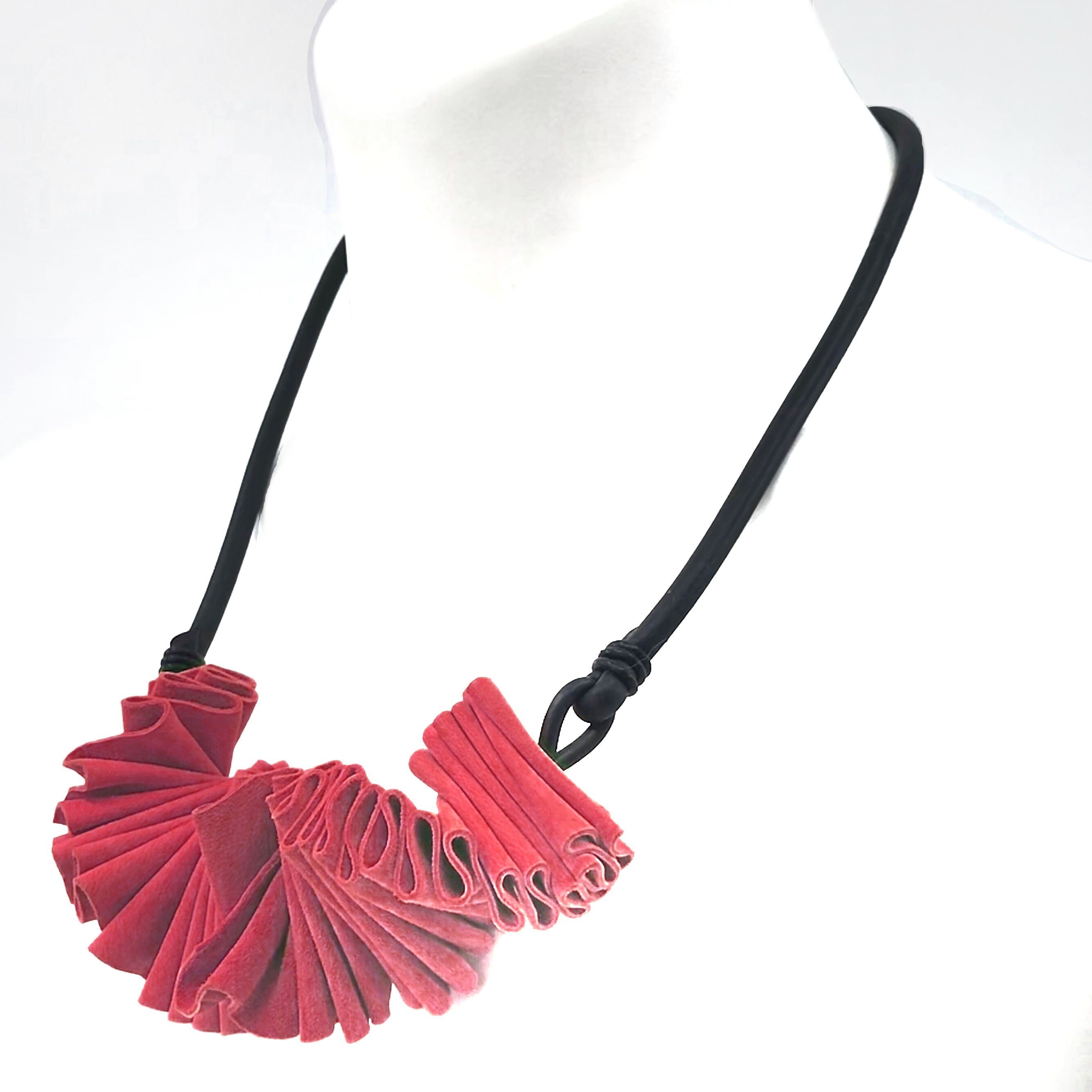 red leather ruffle necklace