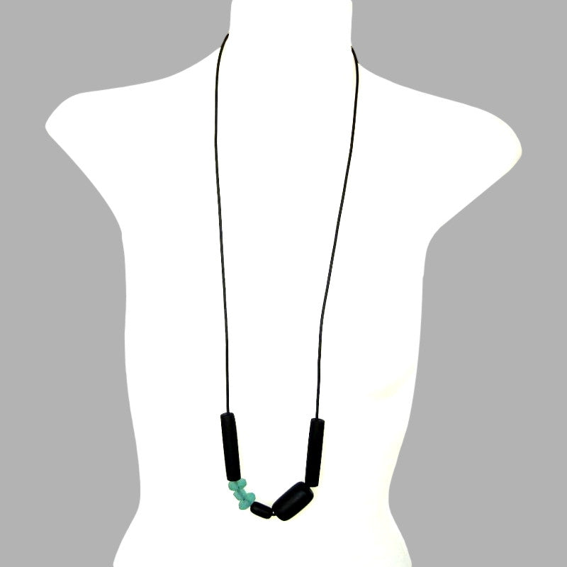 black resin and sea glass necklace