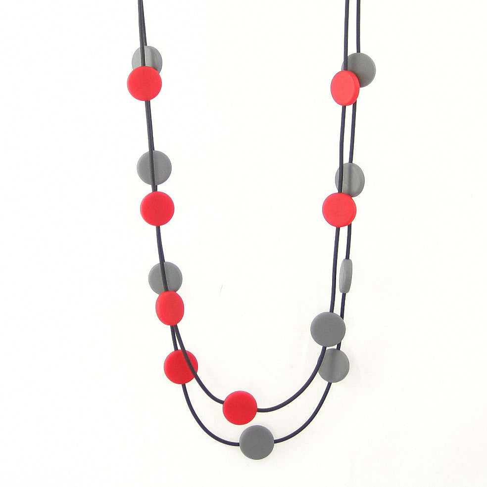 red and grey resin necklace, circles,