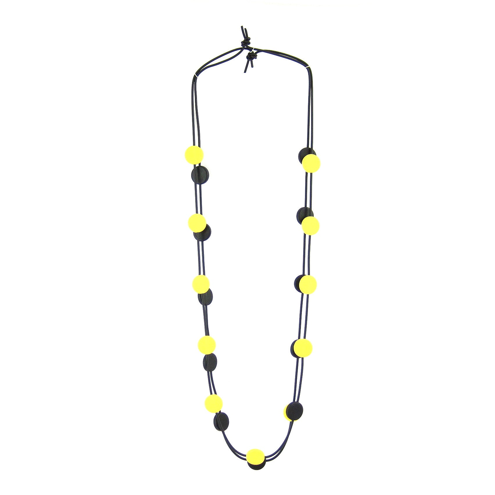 resin necklace with coloured beads and one black