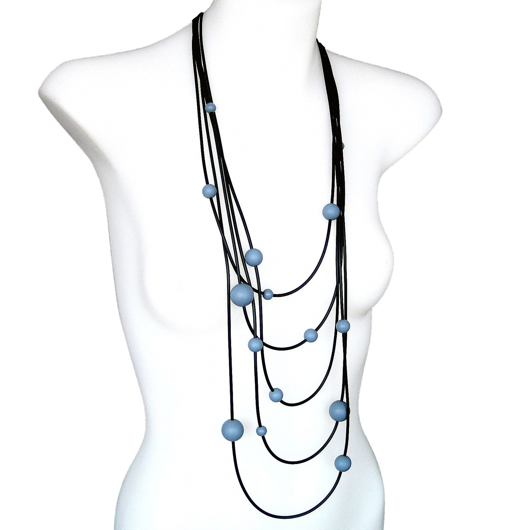rubber spaghetti  necklace with grey balls