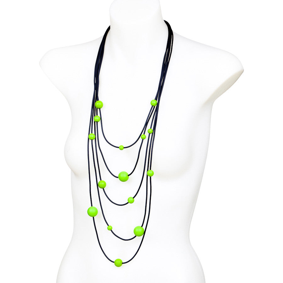 rubber spaghetti  necklace with green balls