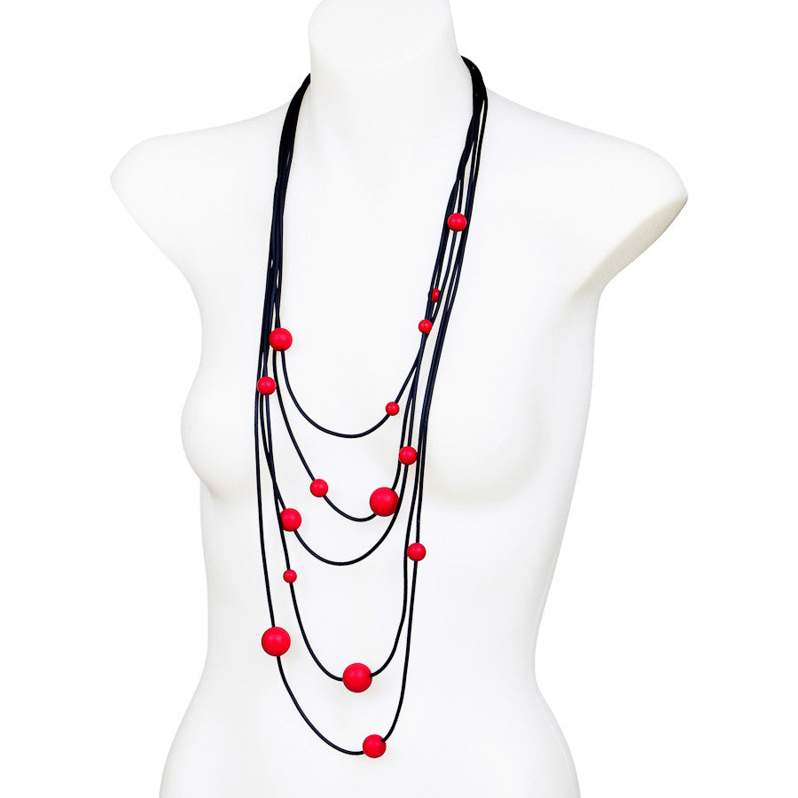 rubber spaghetti  necklace with red balls