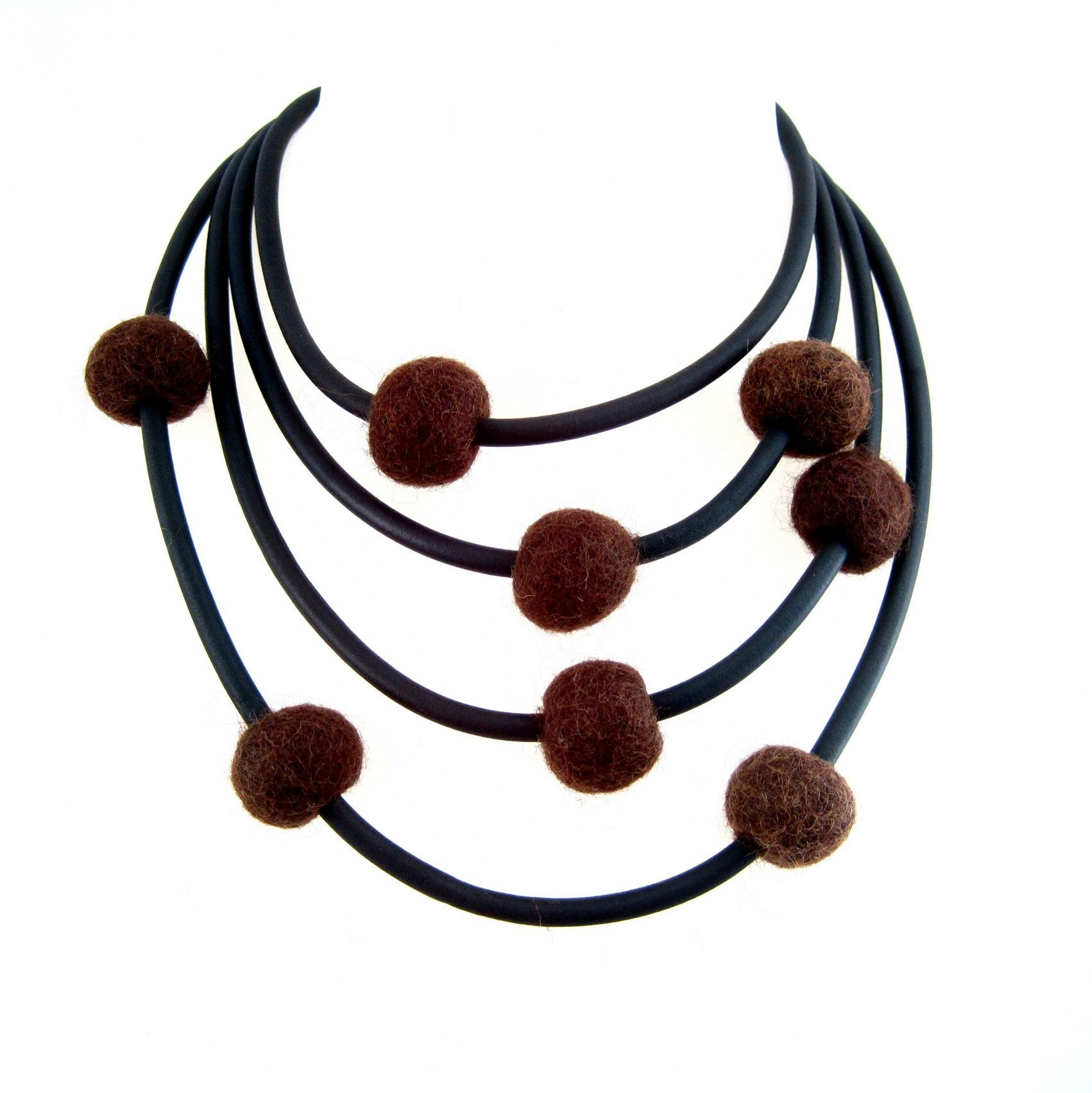 rubber and felt necklace, brown