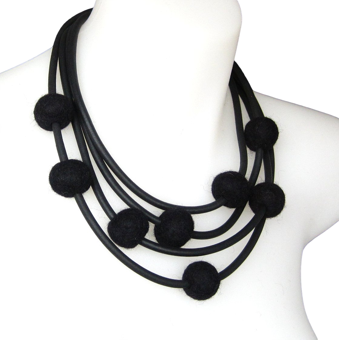 rubber and felt necklace, black