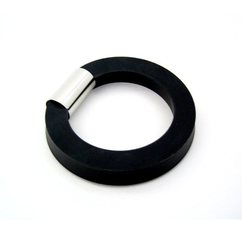 black rubber bangle, square profile