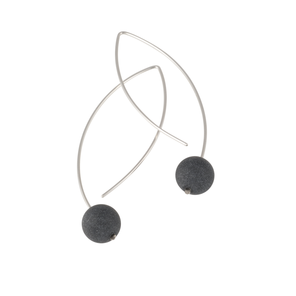 modern sterling silver earrings with single black stone