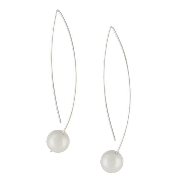 modern sterling silver earrings with shell pearl