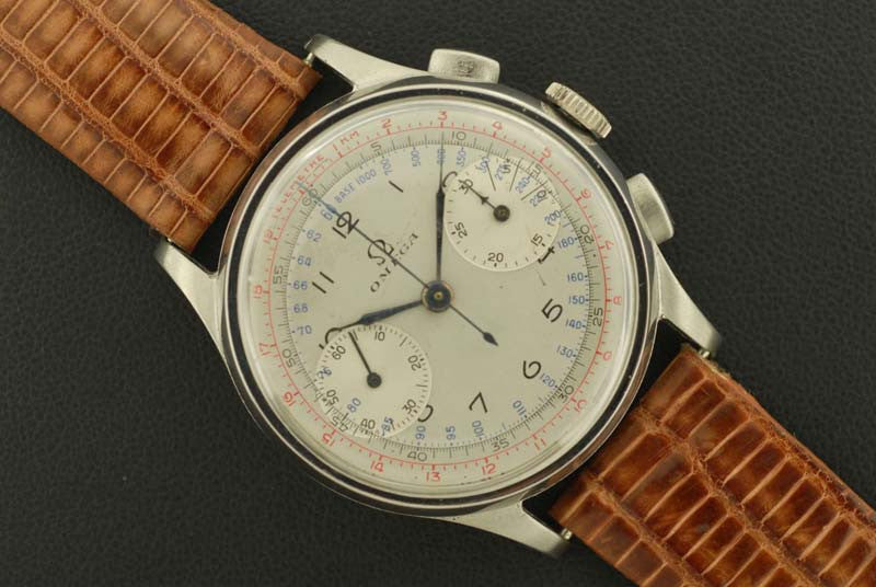 Omegal 1926 stainless steel chronograph wrist watch