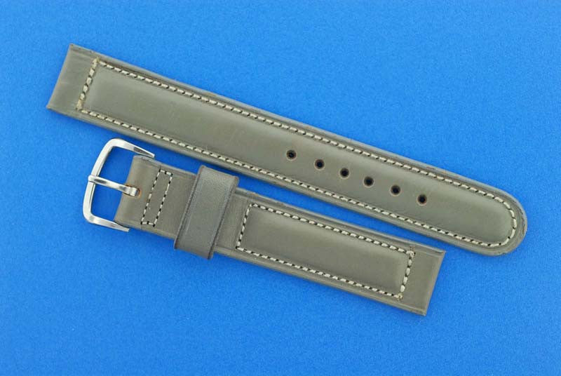 Omega Gray Calfskin Leather Strap, stainless steel bucke