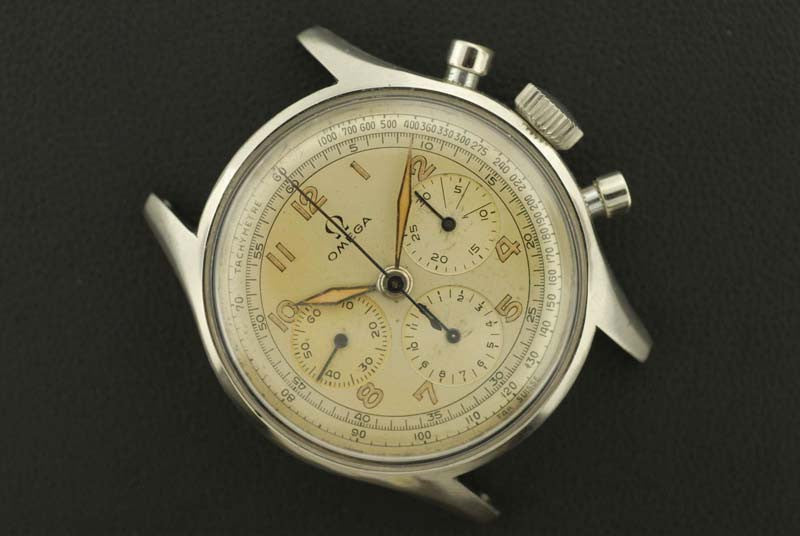 Omega 1944 stainless steel chronograph wrist watch