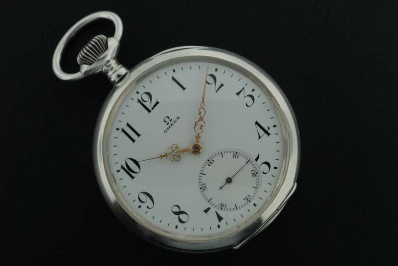 Omega 1910 silver pocket watch