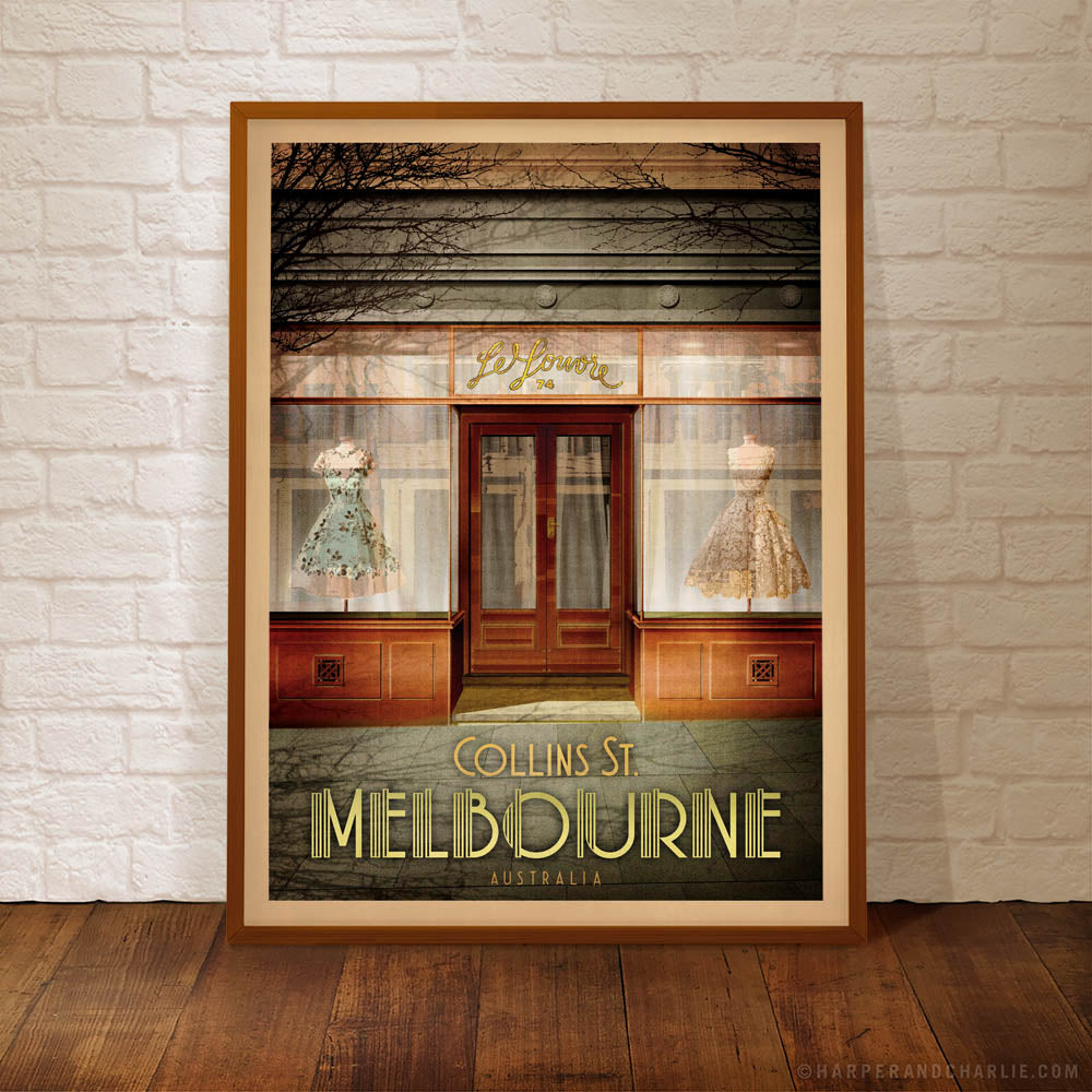 Le Louvre No. 74 Collins Street Melbourne colour print framed by Harper and Charlie