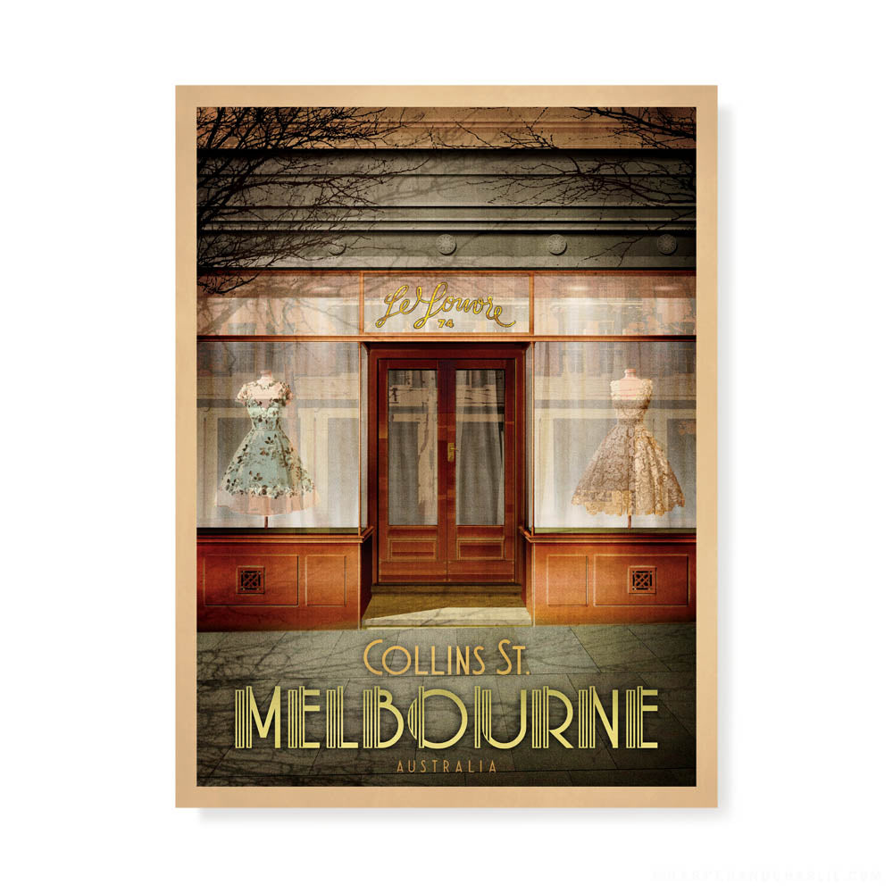 Le Louvre No. 74 Collins Street, Melbourne colour print by Harper and Charlie