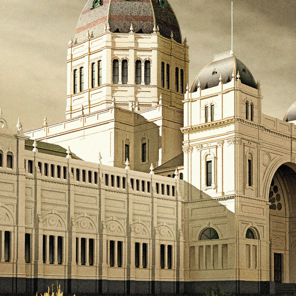 Royal Exhibition Building Grey Sky Colour Print Close Up