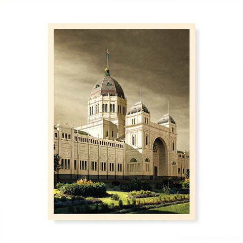 Royal Exhibition Building Grey Sky Colour Print